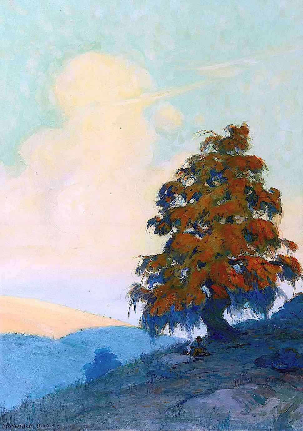 a Maynard Dixon painting of a cowboy's campfire under a giant tree
