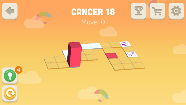 Bloxorz Cancer Level 18 step by step 3 stars Walkthrough, Cheats, Solution for android, iphone, ipad and ipod