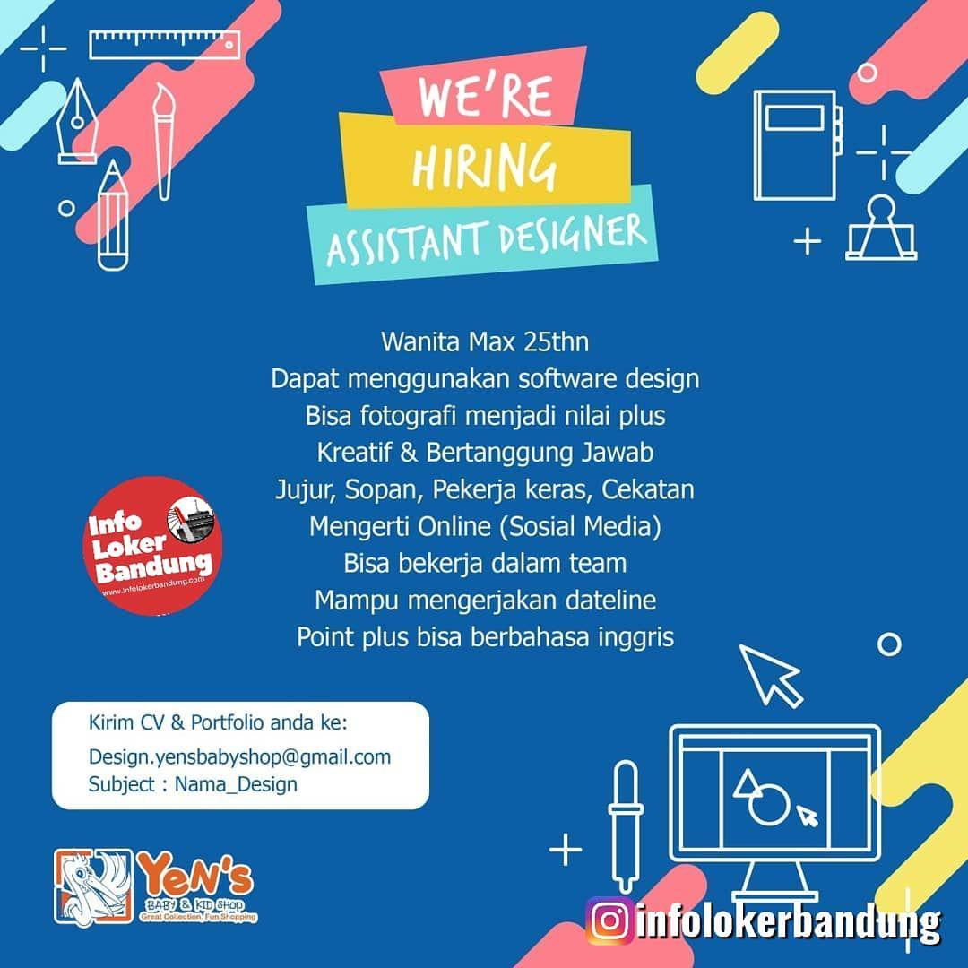 Lowongan Kerja Assistant Designer Yens Baby & Kid Shop Bandung Oktober 2019