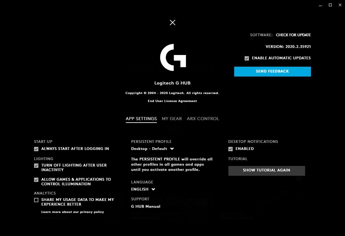 Logitech G Hub 2020.2.41271