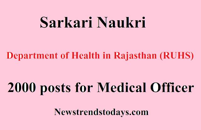 Sarkari Naukri (RUHS) 2000 posts for Medical Officer