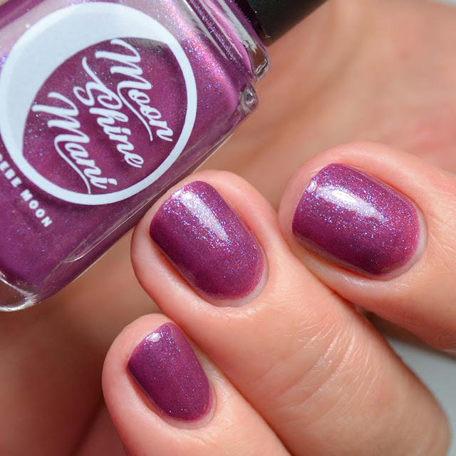 mauve shimmer nail polish three finger swatch