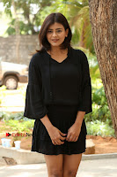 Actress Hebah Patel Stills in Black Mini Dress at Angel Movie Teaser Launch  0040.JPG