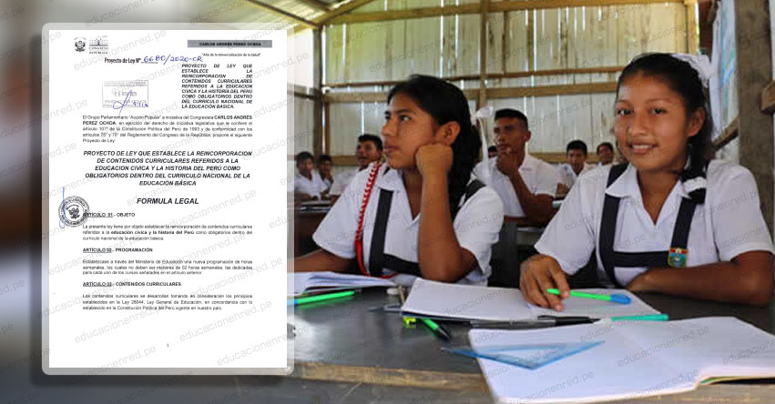 Proponen incluir curso obligatorio de Educación Cívica y la Historia del Perú en el Currículo Nacional, según Proyecto de Ley presentado al Congreso