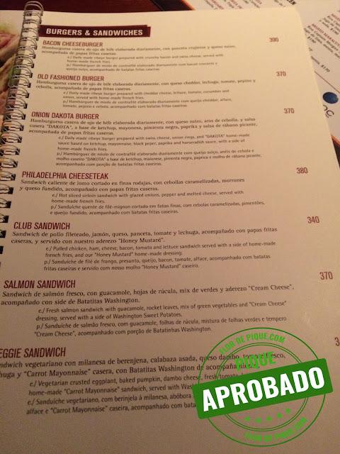Menu Dakota Steakhouse Montevideo