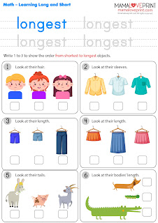 Mama Love Print 自製工作紙 - 數學練習學習長和短 (最長和最短) Math Exercise Learning Long and Short (Longest and Shortest) Worksheets Printable Freebies Kindergarten Activities Daily Math Practices