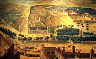 Pintura que ofrece una vista general de la zona del paseo del Prado, con sus alameda, los punetecillos y al fondo la puerta de Alcalá.