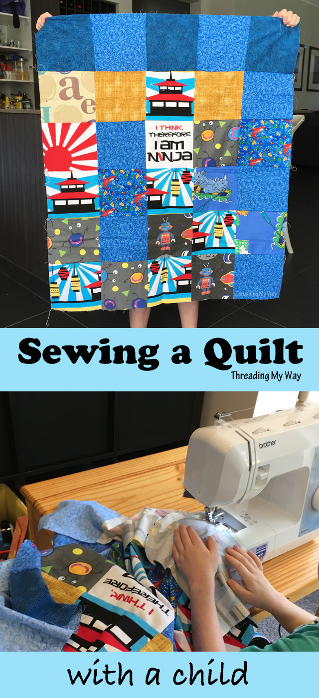 Make a charm square quilt with children. Great scrap busting project. Tips at Threading My Way.