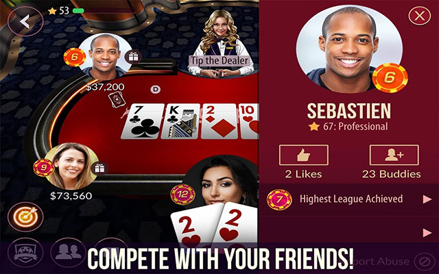 Zynga Poker gameplay