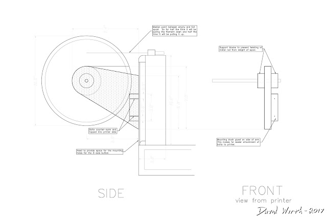 autocad plans for filament holder, 3d print, spool, roll, bearing