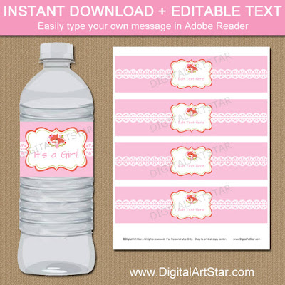 pink woodland baby shower water bottle labels with fox