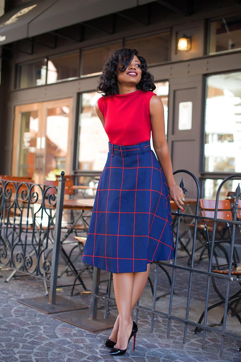 windowpane plaids belted midi-skirt, www.jadore-fashion.com