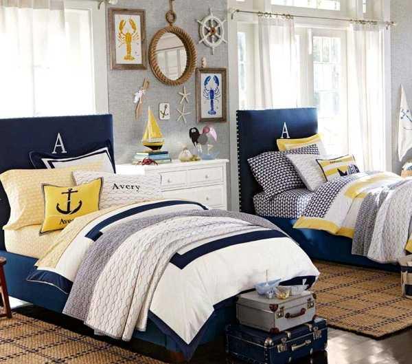غرفة نوم بسريرين للاولاد البار والشباب ويمكن للاطفال ايضا , لون رصاصي وبترولى