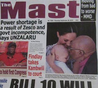 Meghan Archie and Desmond Tutu front page news