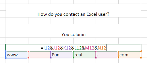 You contact Excel users by calling them, but Excel sheets have columns.