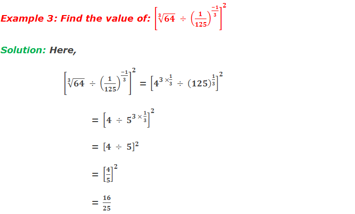 Example 3: Find the value of: [√(3&64)  ÷ (1/125)^((-1)/3) ]^2