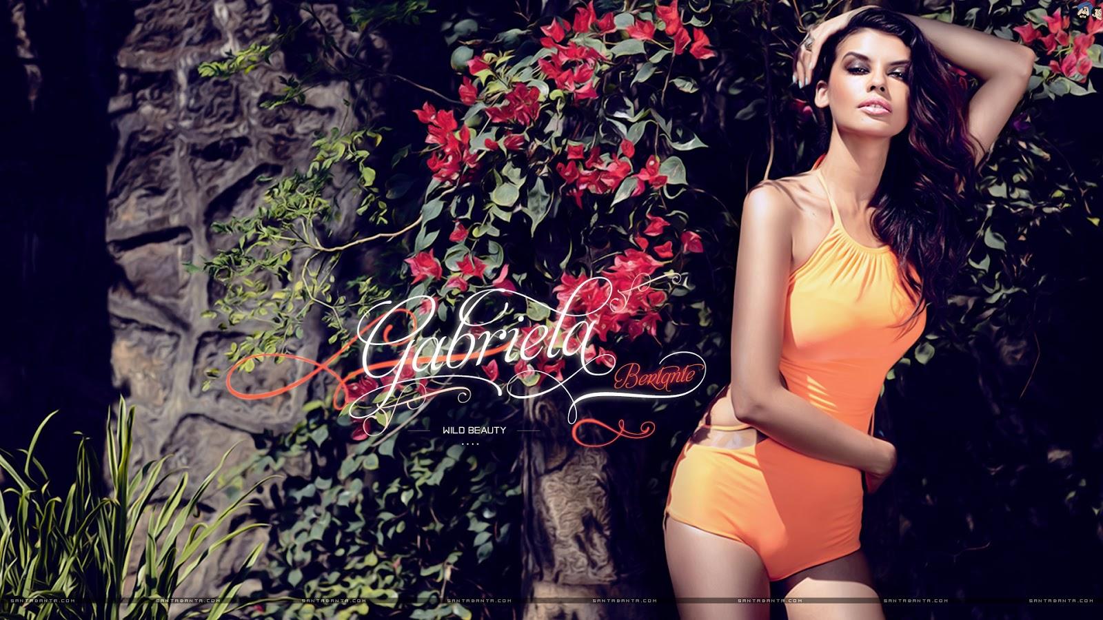 wallpapper gabriela bertante seducing sexy hot looks in orange bikini bra swimsuit