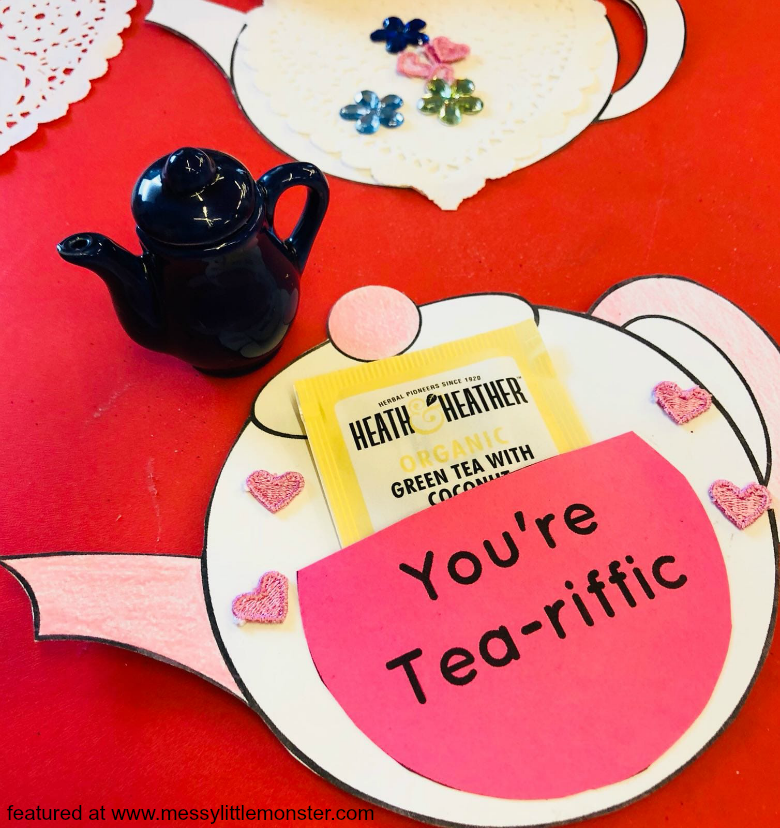 You're Tea riffic teapot craft. Free printable teapot template. Easy Mother's Day card idea for kids.  Great for toddlers and preschoolers.