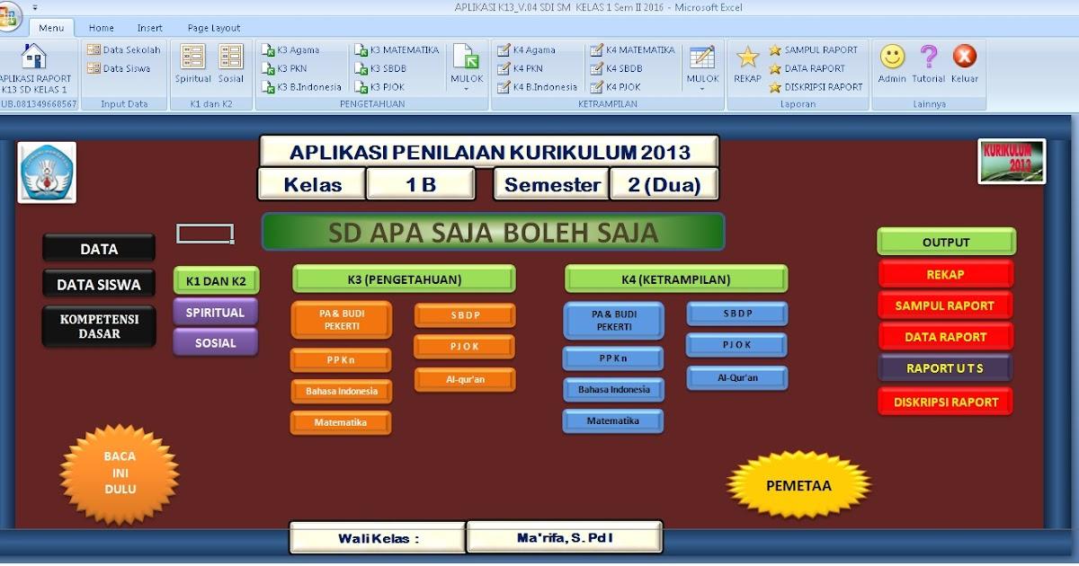 Aplikasi Penilaian Kurikulum 2013 Sd Kelas 1 2 3 4 Dan 5