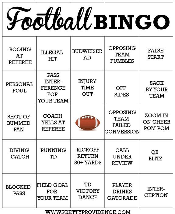 Free Football Bingo Cards - Pretty Providence