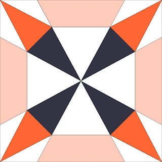 black orange and white four star block