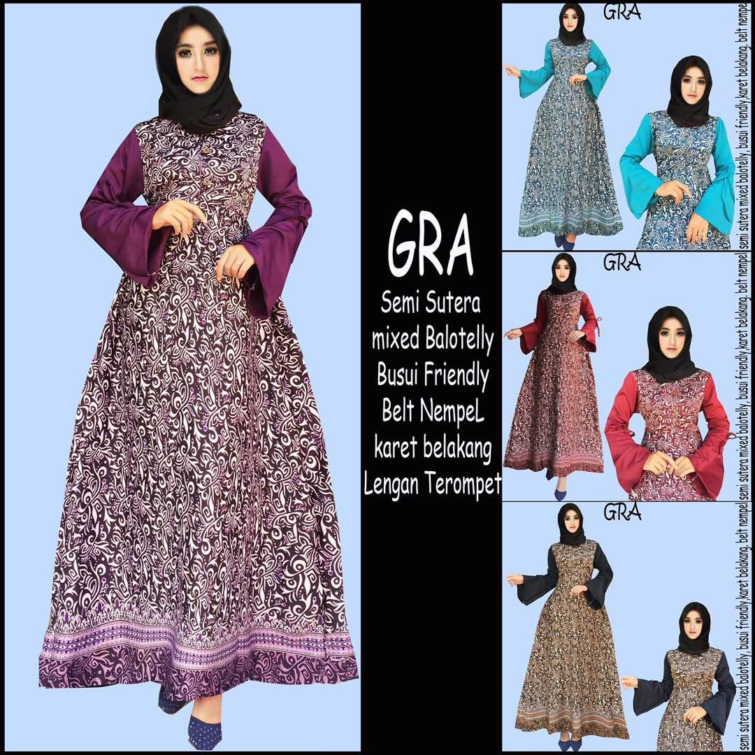 Baju Batik Wanita Model Gamis Semi Sutera Mix Balotelly Gra