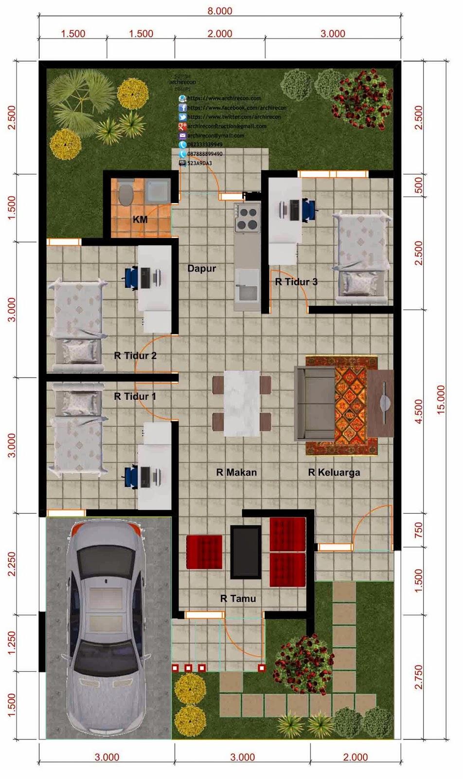 Desain Rumah Minimalis - Denah Type 65