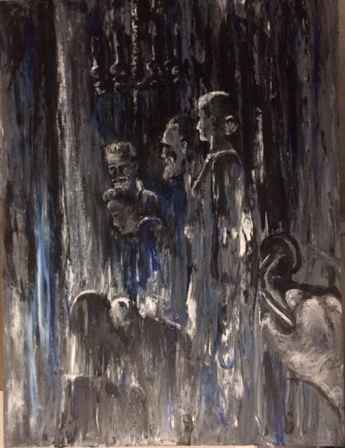 Karine Babel artiste peintre à Angoulême a peint des personnages en noir et blanc derrière une porte.