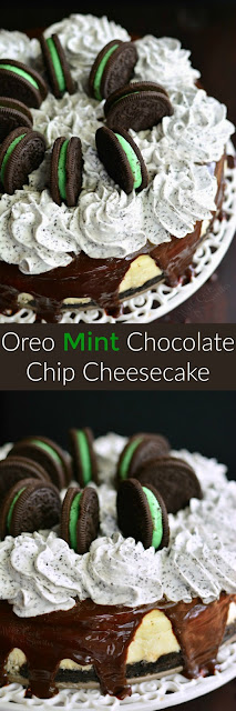 Oreo Mint Chocolate Chip Cheesecake