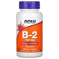 Now Foods, витамин B-2, 100 мг, 100 вегетарианских капсул
