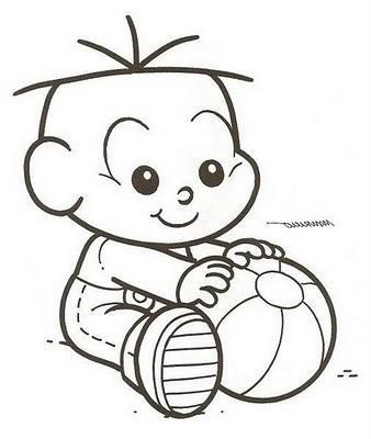 risco cebolinha bebe com bola