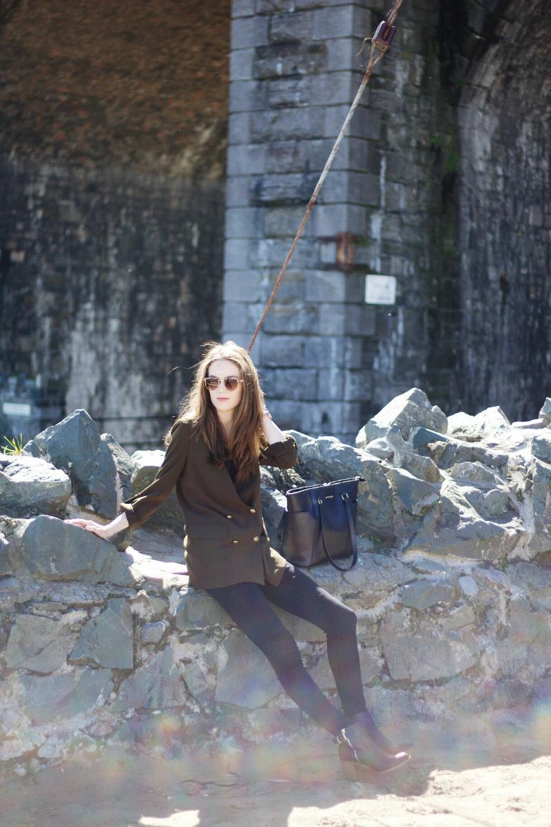 Zara khaki blazer outfit post