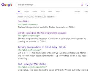 البحث عن لغة برمجة جو go داخل موقع github