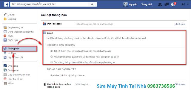 Không cho Facebook gửi thông báo vào Mail