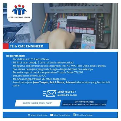 Lowongan Kerja PT Mitra Karsa Utama Sebagai TE & CME Engineer