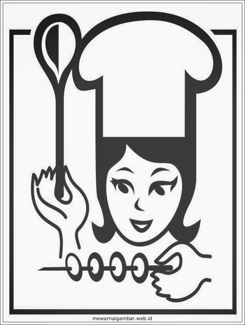 Gambar Mewarnai Profesi Chef Mewarnai Gambar