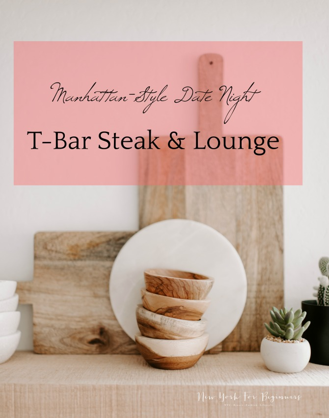 Image of wooden ustensils on a white wall with the caption Manhattan date night at T-Bar steak and lounge