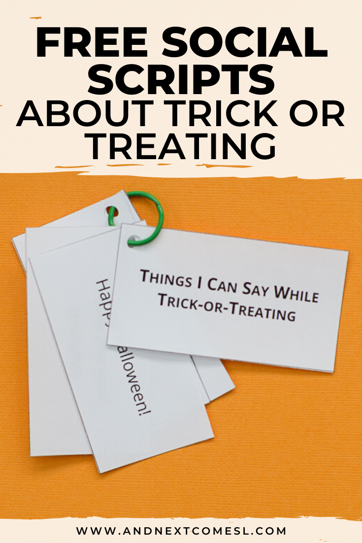 Free social scripts for autism about Halloween and trick or treating
