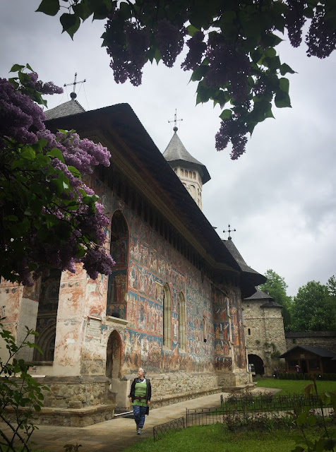 Lilacs and Moldovita Monastery, Bucovina, Romania