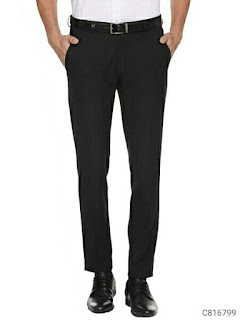Cotton Blend Solid Regular Fit Formal Trouser
