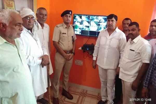 dcp-lokendra-singh-inaugurated-cctv-in-village-kanwra-faridabad
