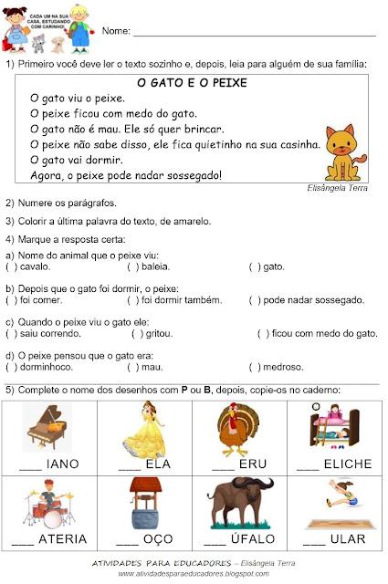 Texto O GATO E O PEIXE, de Elisângela Terra e Palavras com B e P jpg