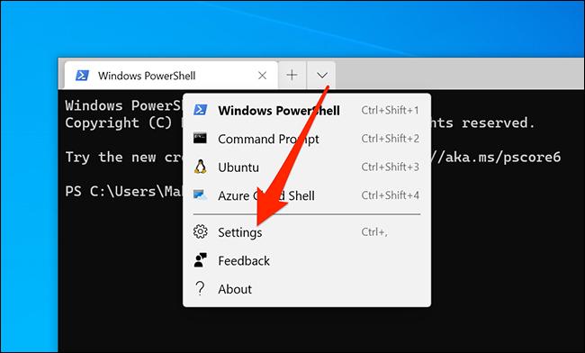 الوصول إلى إعدادات Windows Terminal