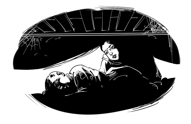 horror story illustration girl under bed