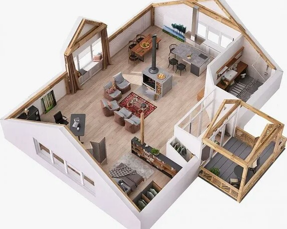 The layout of the interior of the house with one large room