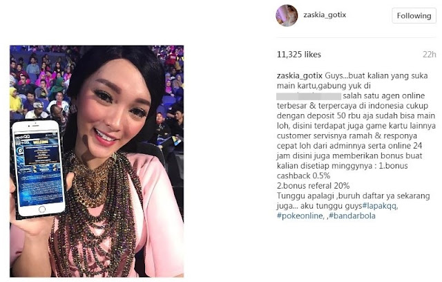 Nah Lho, Zaskia Gotik Sang Duta Pancasila  Justru Promosikan Judi Poker, Anti Pancasila?