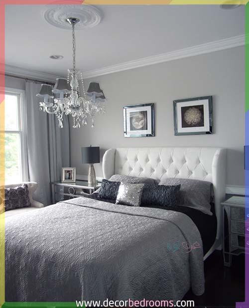 غرفة نوم أنيقة باللون الرمادي والأبيض للمتزوجين