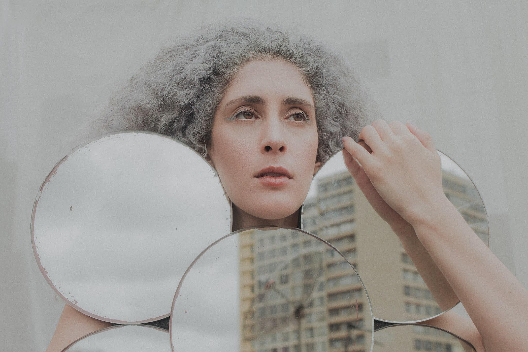 Girl, Reflecting, Holding Mirrors