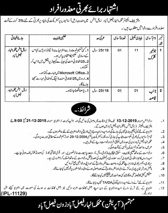 Irrigation (Canal) Jobs in Faisalabad