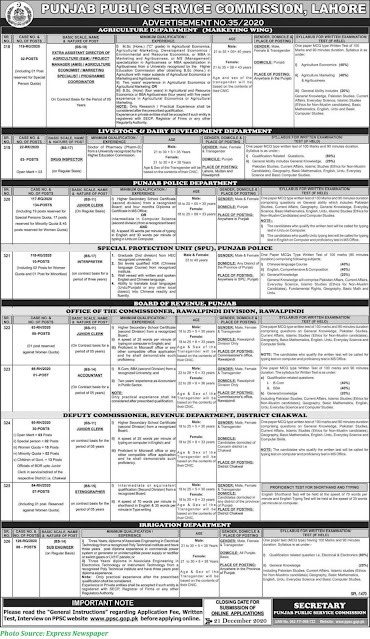 PPSC Jobs 2020 Latest PPSC Jobs Today Advertisement No. 35/2020 Apply Online for Latest PPSC Jobs Advertisement
